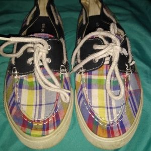 U.S. Polo Assn plaid boat shoes size 8